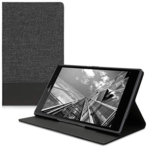 kwmobile Case for Sony Xperia Tablet Z3 Compact - PU Leather and Canvas Protective Cover with Stand Feature - Anthracite/Black