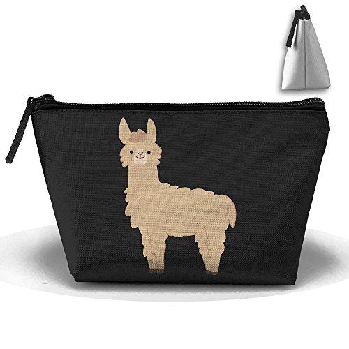 Brown Llama Makeup Bag Storage Portable Travel Wash Tote Zipper Wallet Handbag Carry - Llama Apparel Brown
