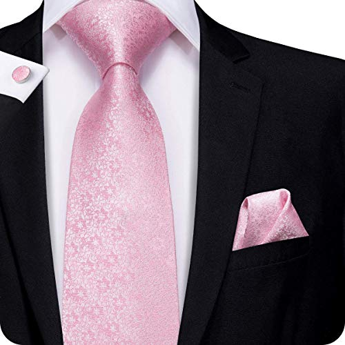 - Hi-Tie Men Classic Pink Satin Floral Tie Necktie with Cufflinks and Pocket Square Tie Set