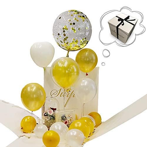 Wanateber 50 cm Explosion Surprise Gift Box Balloons(20 PCS), Wedding Decorative, Album Photo Props Wall, DIY, Surprise Birthday Gift, Wedding Surprise Gift Box, Marriage Surprise Gift Box (White)