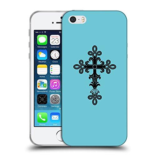 GoGoMobile Coque de Protection TPU Silicone Case pour // Q07890627 Christian Cross 14 Cyan // Apple iPhone 5 5S 5G SE