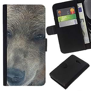 LECELL--Cuero de la tarjeta la carpeta del tirón Smartphone Slots Protección Holder For Sony Xperia M2 -- Retrato del oso --