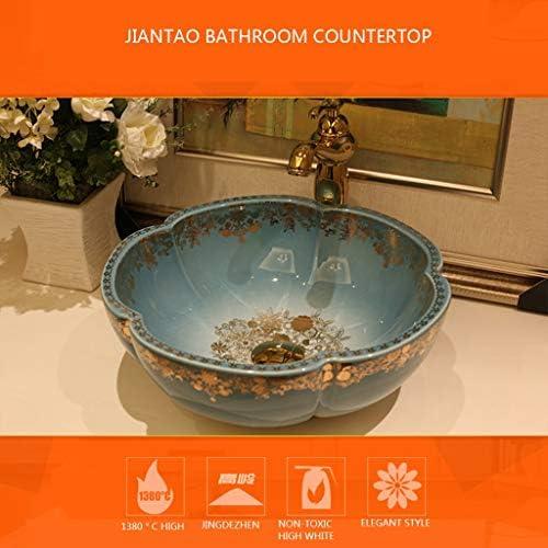浴室設備アクセサリ 容器シンク 浴室船舶のシンク スタイルの洗面化粧台 陶芸洗面化粧台洗面 バスルームキャビネットボウルシンク (Color : Sink*1, Size : 41*15cm)