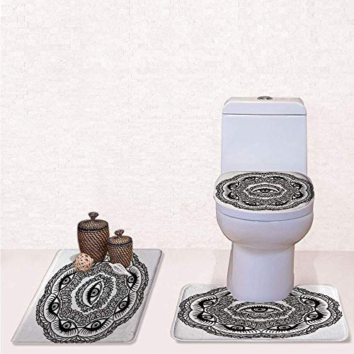Print 3 Pcss Bathroom Rug Set Contour Mat Toilet Seat Cover,Print in Floral Crown of Leaves Sticks with Eye of Providence Boho Symbol with Black White,decorate bathroom,entrance door,kitchen,bedroo