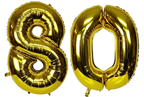 Gold Large Glossy (C-Spin 40 INCH Big Large 80 Metallic Gold Number Foil Balloon 40