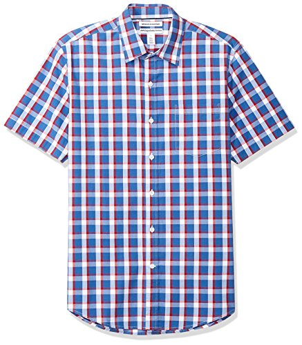 (Amazon Essentials Men's Slim-Fit Short-Sleeve Casual Poplin Shirt, Blue/Red Plaid, Medium)