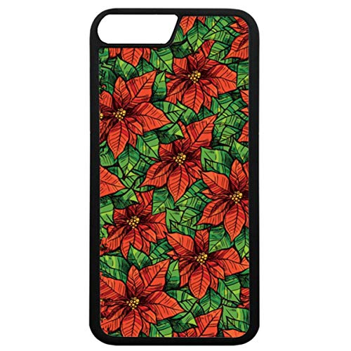 Double Poinsettia - iPhone 7 Black Case,iPhone 8 Christmas Case,iPhone 7 Protective Case Case Red Poinsettia Illustration Heavy Duty Dual Layer Case iPhone 7 / iPhone 8