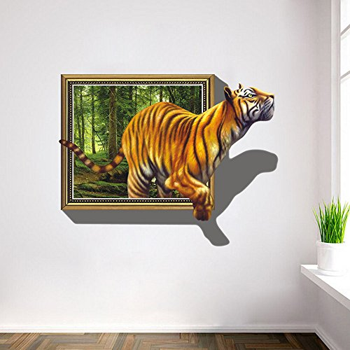 U-Shark 3D Self-adesive Removable Break Through the Wall Vinyl Wall Stickers /Murals Art Decals Decorator Kid's Favor (8001 Tiger (27.6