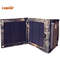 Logisaf Foldable Solar Charger with Two High Efficiency Solar Panels, Reinforced and Waterproof, for Cell Phone, iPhone, Backpack and Outdoors (Camouflage)