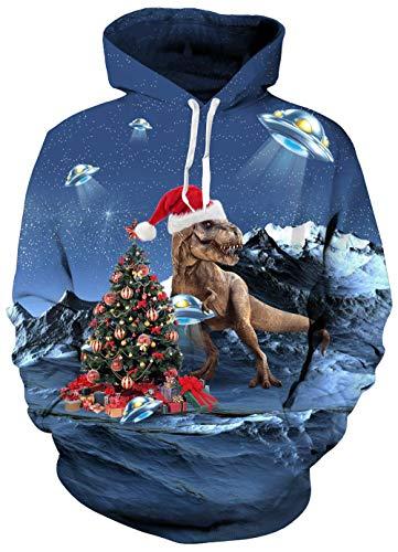 Women Men Ugly Christmas Sweatshirts Hooodie 3D Print Dinosaur Red Xmas Hat Blue Planets Ufo Funny Patterns Novelty Tops Shirts Long Sleeve Crew Neck With Kangaroo Pockets Warm Fall Wear -
