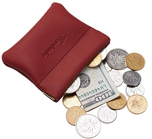 Quick Coin (Travelambo Leather Squeeze Coin Purse Pouch Change Holder For Men & Women (Access Red Deep))
