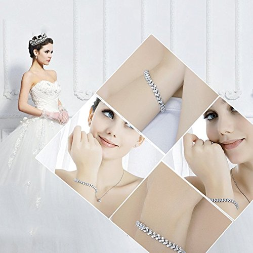 Silver Crystal Rhinestone Bangle Gem Wedding Party Diamante Bracelet: Amazon.co.uk: Jewellery