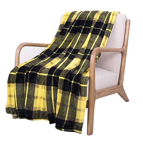 SOCHOW Flannel Fleece Blanket 50 × 60 Inches, All Season Plaid Yellow Blanket for Bed, Couch, Car