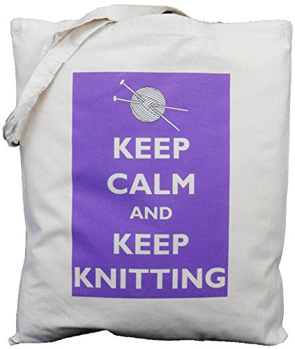 Keep Calm and keep Knitting - Natural Cotton Shoulder Bag - Purple design