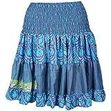 Mogul Interior Womens Beach Summer Silk Skirt Full Flare Recycled Sari Tiered Boho Knee Length Skirts