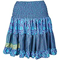 Mogul Interior Womens Evelyn Silk Skirt Full Flare Recycled Sari Tiered Boho Knee Length Skirts