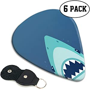 Emvency 6 Packs Celluloid Guitar Picks Shark Open Sharp Teeth Flat Unique Guitar Gift for Acoustic Electric and Bass Guitars medium thickness (0.71mm)