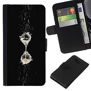 LECELL--Cuero de la tarjeta la carpeta del tirón Smartphone Slots Protección Holder For Samsung ALPHA G850 -- Hielo viene la lluvia --