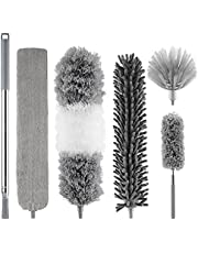 GEKUPEM Microfiber Duster, with Extension Pole (Stainless Steel) 4 in 1 Extendable Duster Kit,Bendable & Washable Duster, Cobweb Duster Long Handle Duster for Cleaning Ceiling Fan,Furniture & Cars