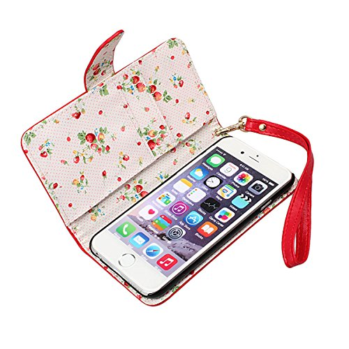 xhorizon TM FLK Premium PU [Red] Leather Wallet Stand Landyard Strap Case Cover/Pouch/Holster with Card Slots, Cash Compartment and Floral Interior for iPhone 6 [4.7inch] with a Cleaning Cloth