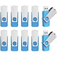 Aiibe 10pcs 16GB USB Flash Drives Memory Stick 16 GB Thumbdrives Light Blue