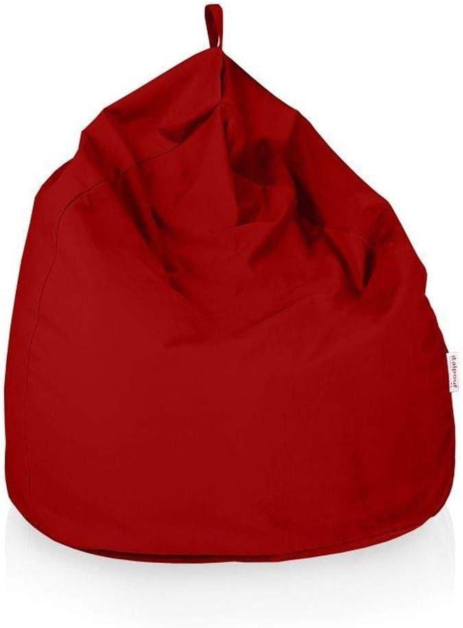 Italpouf - Puff Pera Tela Suave Lavable Microfibra XXL 100 x 130 cm 500l con Funda Extraible Indoor Muy Resistente Moldeable con Relleno, 33 colores (Rojo): Amazon.es: Hogar