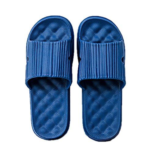 Tellw Salle De Bain Pantoufles Pour L'été Mâle Femelle Fond Épais Anti-slip Intérieur Maison Pantoufles Hommes Frais Blue2