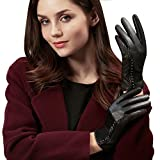 GSG Womens Stylish Whirlpool Patterns + Trendy Studs Black Leather Gloves Ladies Touchscreen Driving Gloves Warm Winter Nice Gifts 7.5