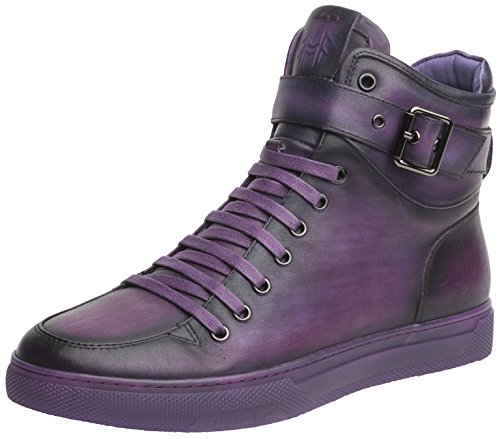 (Jump Newyork Men's Sullivan Purple Round Toe Metallic Reptile Stamped Leather Lace-Up Inside Zipper and Strap High-Top Sneaker 8 D US Men)