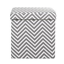 Sauder Soft Modern Upholstered Storage Ottoman, Gray/White/Chevron