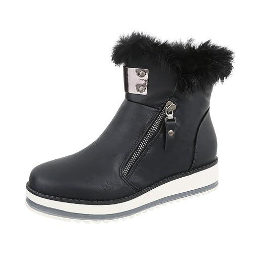 Ital-Design Zapatos para Mujer Botas Plano Botines Clásicos: Amazon.es: Zapatos y complementos