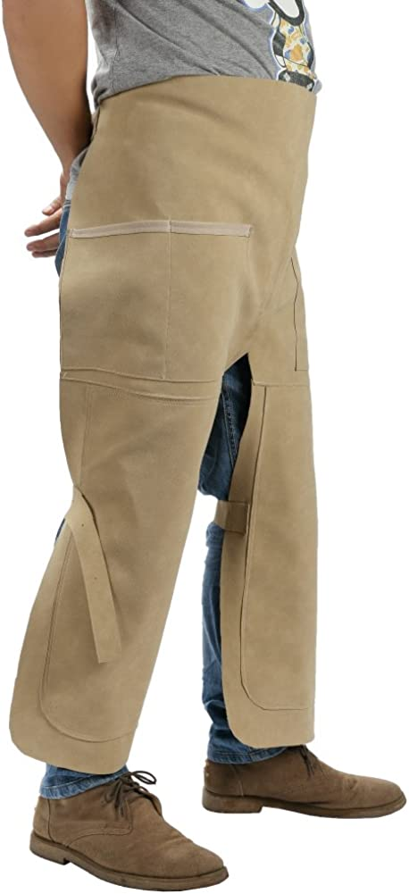 Utility PU Leather Tool Aprons Work Chaps Trousers Worker Britches Working Pants 30 W x 35 L Workshop Apron HSW-110 Light Khaki