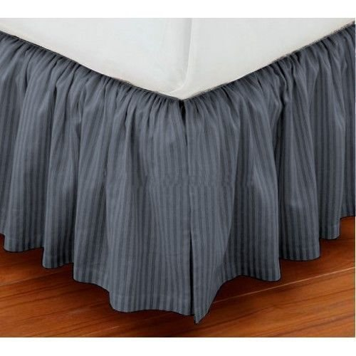 Luxury Dust Ruffle Bed Skirt Twin Size 34'' Drop Fall Length Dark gray Striped 950TC 100%Egyptian Cotton