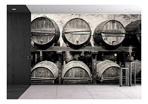 wall26 - Barrels Stacked in The Winery in Black and White - Removable Wall Mural   Self-Adhesive Large Wallpaper - 100x144 inches