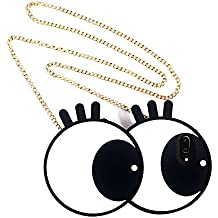 Big Eyes Soft Silicon Case Cover for iPhone 6 Plus & iPhone 6s Plus with Crossbody Metal Chain Miniko(TM) 3D Cute Cartoon Funny Silicon Gel Back Case Lovely Stylish Design for Teens Girls Women