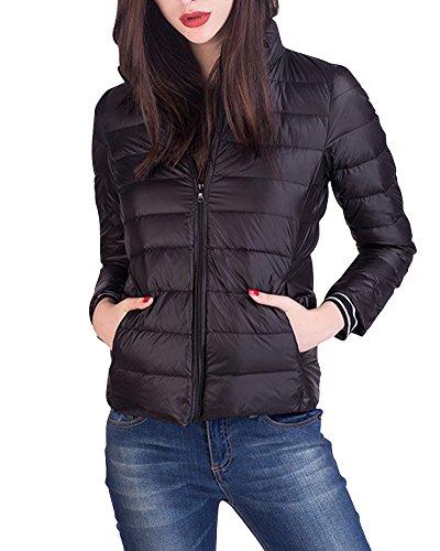 Leggeri Donna Nero Giacche Giacca Cappotto Trapuntato Packable Piumino Inverno Corto qtfrOpwxt