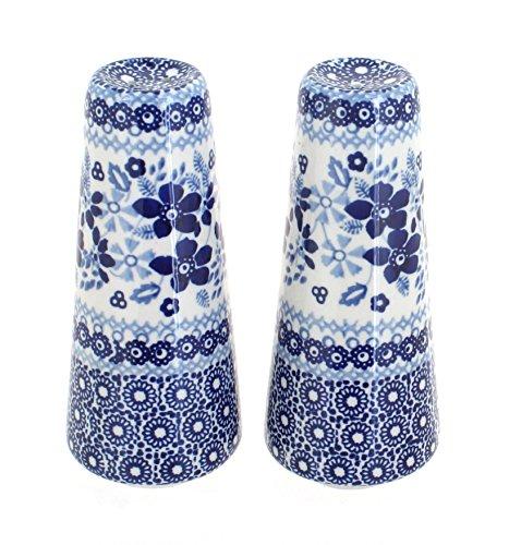 Blue Rose Polish Pottery Vintage Blue Daisy Salt & Pepper Shakers