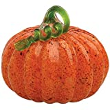 Boston International 6 1/4-Inch x 7-Inch Medium Gallery Glass Pumpkin Collectible Figurine, Orange with Green Stem