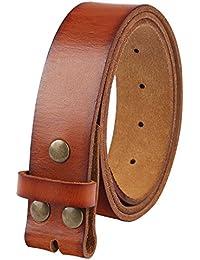 Men's Genuine Leather Belt Full Grain Snap On Belts 1.5