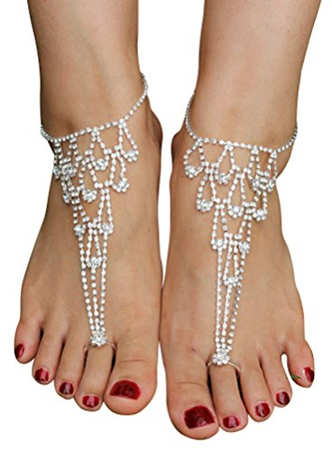 [Women's Lady's 2 Piece Barefoot Sandals Toe Ring Anklets Wedding Beach Jewelry] (Labor Day Parade Costumes For Sale)