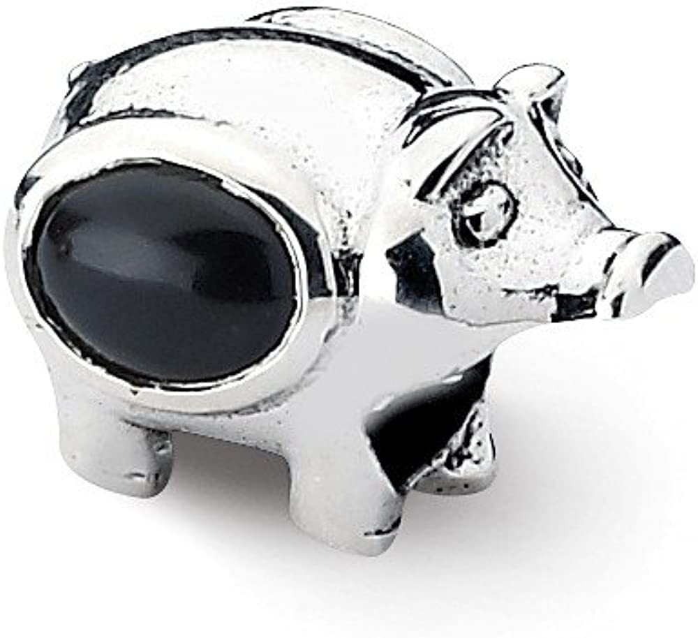 Sterling Silver Reflections Onyx Pig Bead