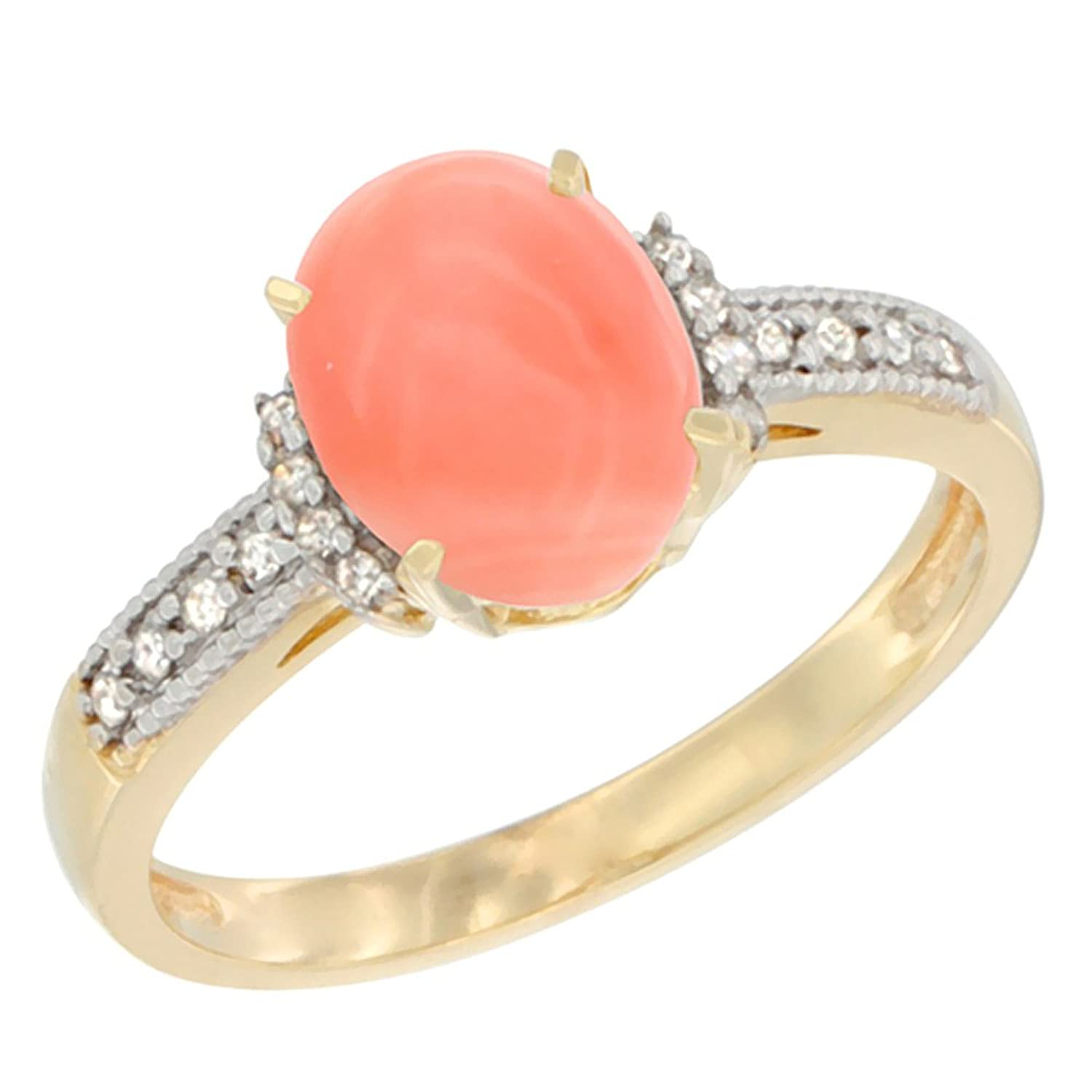 10K White Gold Natural Coral Ring Oval 9×7 mm Diamond Accent, sizes 5 – 10