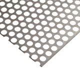 Carbon Steel Perforated Sheet, Unpolished (Mill) Finish, Staggered Holes, 0.075'' Thickness, 14 Gauge, 36'' Width, 40'' Length, 0.6875'' Center to Center