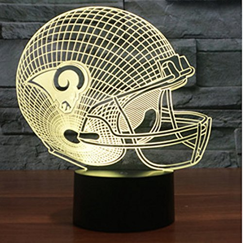 Football Helmet Lamp - Touch Control Football Helmet Lamp- Color Changing 3D Lamp - Night Lamp for Boys and Men - Perfect Gift for NFL Sports Lovers (Los Angeles Rams) (Lamp Rams Helmet)