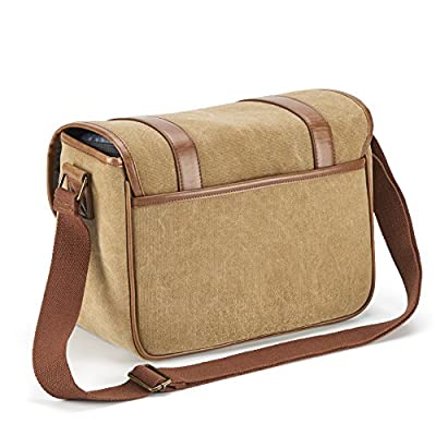 Classic Camera Bag, Evecase Large Canvas Messenger SLR/DSLR Shoulder Case with Leather Trim, Tablet Compartment and Removable Insert For Mirrorless, Micro 4/3, Compact System, High Zoom Digital Camera by Evecase