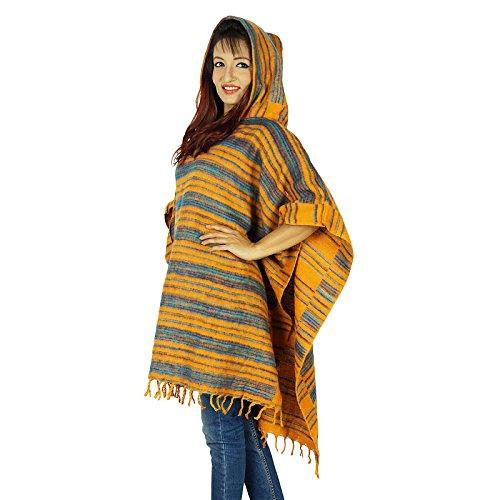 Boho De Las Mujeres Usan Ropa De Invierno Mezcla De Lana Con Capucha De Un Tamaño Superior Regalo Suéter Para Ella Amarillo