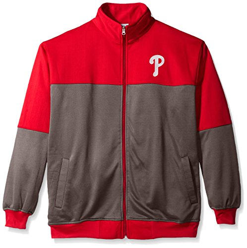 - MLB Philadelphia Phillies Men's Poly Fleece Yoked Track Jacket with Wordmark Logo, 2X/Tall, Red/Gray