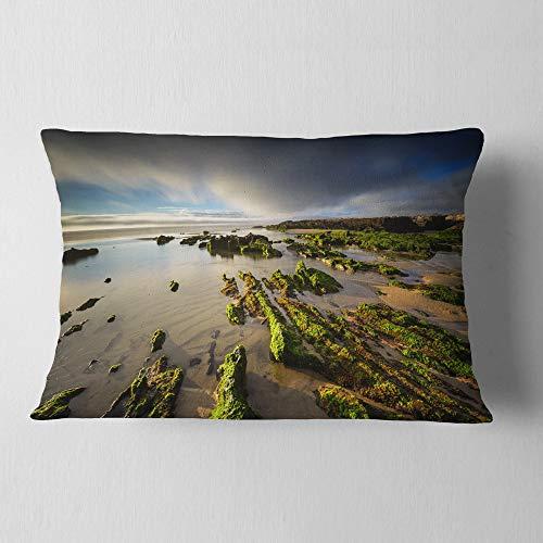 Designart CU14645-12-20 Furnas Virgin Beach Galicia Spain' Seashore Throw Lumbar Cushion Pillow Cover for Living Room, Sofa, 12 in. x 20 in, Pillow Insert + Cushion Cover Printed on Both Side by Designart