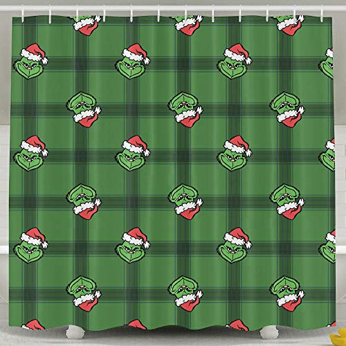 SARA NELL Cute Cartoon The Grinch Shower Curtain,Waterproof Polyester Fabric,Extra Long Bath Curtains Bathroom Decorations Home Decor Sets,72x72 Inches with 12 Hooks