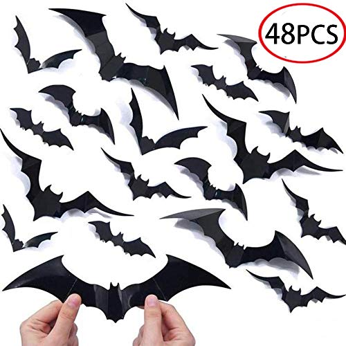 Halloween Bat Decoration (Halloween Decorations Bat Wall Decals Stickers Decor 48pcs, Extra Large 3D Bats Window Decals, Bat Halloween Door)
